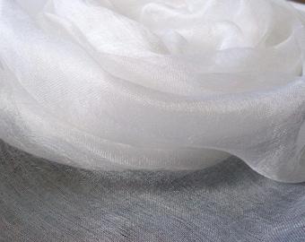 Pure 100% silk scrim margilan (made in Uzbekistan) for nunofelting. Colour white.  price for 1 meters, width 36 inch