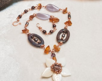 Amber Copper Flower Necklace Boho Necklace with Ocean Jasper Freshwater Pearls Wood Rounds and Czech Glass - Bloom of the Autumn Waves