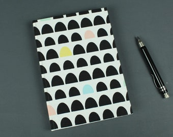 Notebook black white, bullet journal, diary, cloth related notebook, notebook, black and white with colorful tab pages