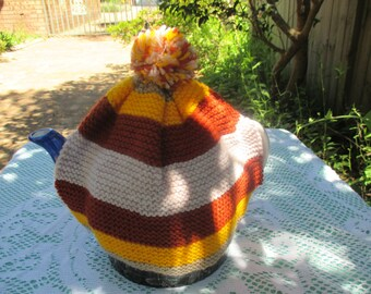 Vintage Tea Cosy - Striped Browns, Yellow Knitted - Vintage Style for your teapot.