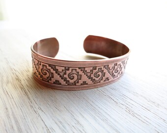 Vintage Solid Copper Cuff Bracelet   1970s Copper Bracelet