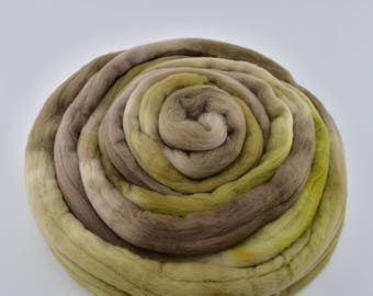 Merino wool roving 50 grams felting spinning needle felting nuno weaving fiber arts carding fiber 18.5 micron 50 gram Olive Brown 12102