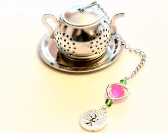 Tree of Life Tea Infuser, Family Charm, Pink Heart Beaded Mesh Tea Ball, Mad Hatter Tea Party, Mother's Day Tea Gift, High Tea, Tea Brewing