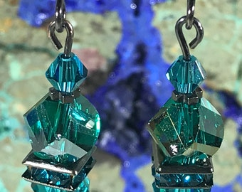 Teal Green Swarovski Crystal Earrings