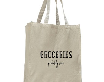 Groceries (probably wine) Reusable Tote Bag