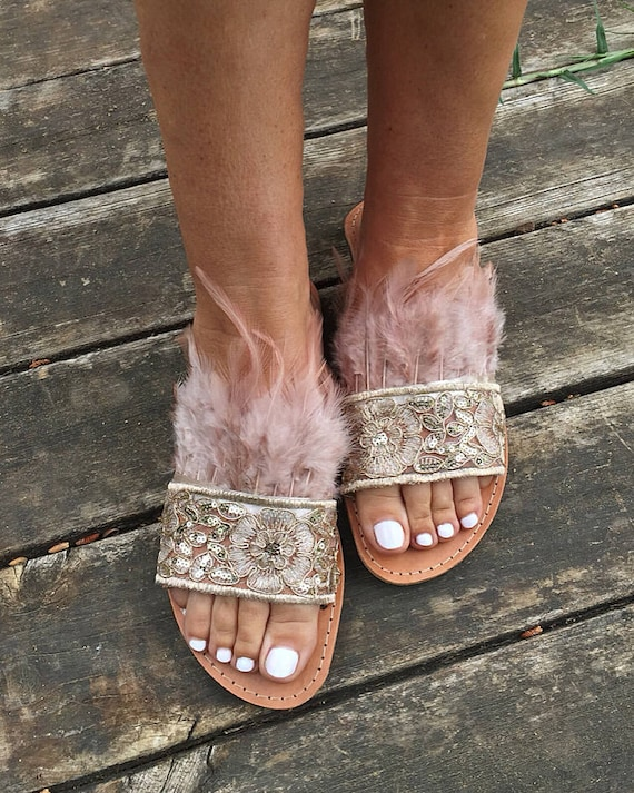 Slides SHIPPING on ribbon FREE Sandals Strappy Slip feathers Rosaline sandals Greek with and Worldwide 06fqO
