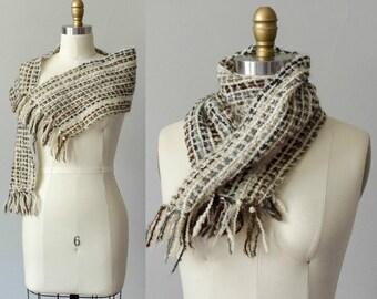 1970s vintage scarf / nubby wool scarf / earth tone scarf
