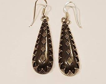 Fabulous Ethnic Tribal Rajastani Design Sterling Silver Dropper Earrings Oxidised Very Unusual Design