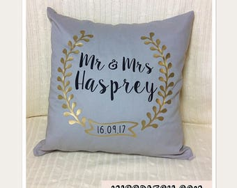 Mr and Mrs Pillow Cover, Mr and Mrs Pillow, Happily Ever After, Ring Bearer, Wedding Gift, Customizable Pillow, Wedding Keepsake