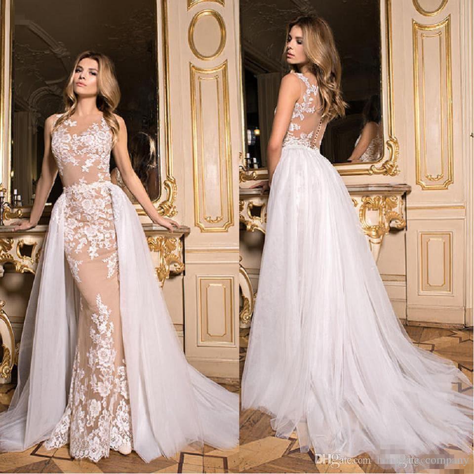 Nude wedding dress wedding dress with detachable train zoom ombrellifo Choice Image