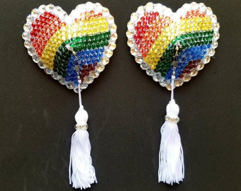 Rainbow Heart Pasties with Crystal