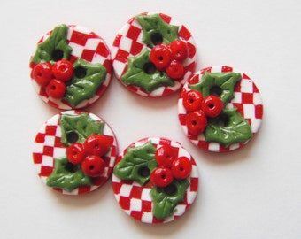 Button Checked Holly handmade polymer clay buttons ( 5 )