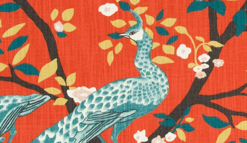 Teal Red Fabric for Furniture Upholstery Bird Curtain Fabric