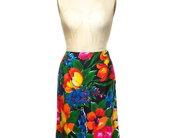 vintage 1970's floral skirt / Personal by Leslie Fay / tropical floral / cotton / spring summer / women's vintage skirt / size medium