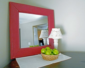 "Rustic Farmhouse Mirror Red Mirror Rustic Mirror Barn Red Rustic Mirror Made From Reclaimed Wood 17.5"" x 17.5"" Mirror"