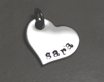 Personalized stainless heart charm