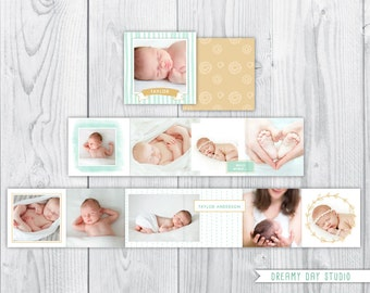 accordion mini template, accordion template, accordion mini album, accordion book, mint, green, gold, natural, baby, photo book, photography