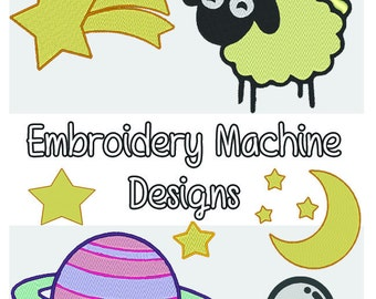 Sleepy Stars Machine Embroidery Files- Space, Galaxy- 6 included .PES Format