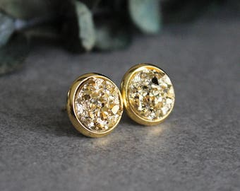 Gold Stud Earrings, Gold Earrings, Gold Druzy Earrings, Gold Post Earrings, Gold Glitter Earrings, Small Gold Earrings, Gold Druzy Studs