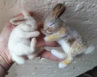 Needle Felt Sleeping Baby Bunny Kit - beginner/ intermediate - Wild Rabbit  The Wishing Shed - Gift craft work