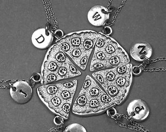 Collier de pizza, tranche de Pizza collier, charme de tranche de Pizza, bijoux de pizza, meilleur collier ami, meilleur cadeau d'un ami, collier BFF, initiale charme