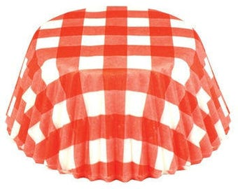 Red Gingham Cupcake Liner, Red and White Liners, Red  and White Cupcake Liners, Red Cupcake Liners,  Red and White Picnic