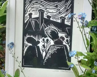 Great Dixter, framed limited edition, Horticultural Lino cut print, garden, great gift idea, gardener, plants, flowers.