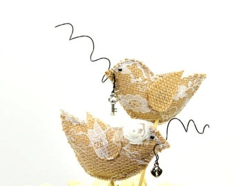 Burlap and Lace Bird Cake Topper