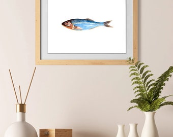 Watercolor hand painted fish