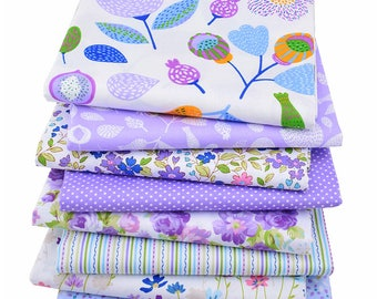 8pcs  Flower & Sreak Cotton Fabric ,Pure Cotton Printed Fabric - 15 Inch x 20 Inch