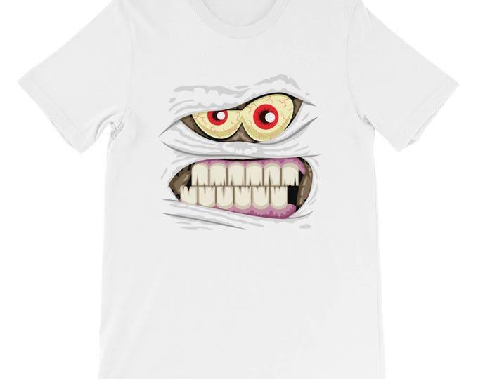 Mummy Face Short-Sleeve Unisex T-Shirt. shirt, tshirt, tee, gift,monster, evil, crazy, cool, avatar, mascot, profile, portrait, Halloween,