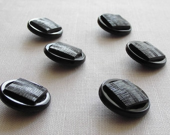 6 large  attractive  black  glass buttons - with great surfaces  -   ( 27 mm - 1.1/16 in.) in.)