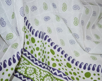 Soft Cotton Fabric, Pintuck Fabric,  printed fabric for summer dresses, skirts, pillow covers  - Indian Cotton by the yard