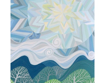 All at Sea art print with handpainted details. Geometric chevron sky and moon, clouds, mountains, forest, paper boat constellation.