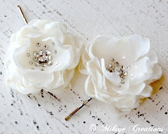 WeddingHair Flowers, Flower Girl Hair Pins, Bridesmaid Hair Flowers, Wedding Bridal Mini Ivory Hair Flower Bobby Pins - Christie