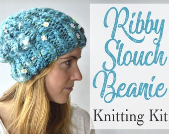 Slouchy Beanie Knitting Kit, Ribbed Slouchy Hat, Knitting Pattern, Flower Yarn, Easy Beginner Knitting Kit, Knit Ribbed Hat Pattern