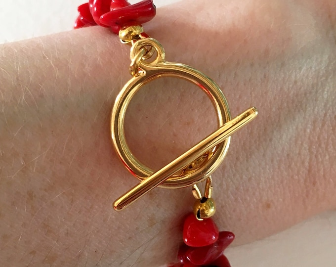 Red bracelet, Golden bracelet with sea bamboo red gemstones