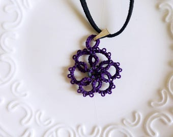 Tatted necklace, tatted lace, tatted pendant necklace, velvet cord, purple pendant, tatted jewelry, lace jewelry, gift idea, ready to ship