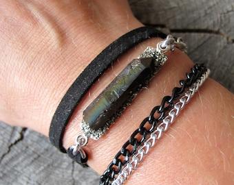 Black Leather Bracelet ~ Druzy Leather Wrap Bracelet ~ Crystal Wrap Bracelet ~ Leather Bracelet ~ Wrap Around Bracelet ~ Chain Bracelet