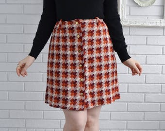 Vintage 1970s Burgundy and Burnt Orange A-Line Skirt with Gold Front Buttons Size Small