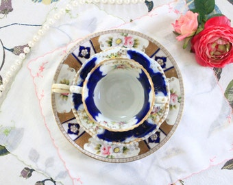 Navy and Gold Mismatched Tea Cup, Saucer, and Noritake Dessert Plate