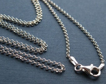 """Sterling Silver Necklace-2mm Rolo Chain Necklace,ITALY-Finished For Pendant,Silver Chain Necklace-Popular Rolo Chain (18"""") SKU: 601005-18"""