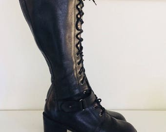90s Lace Up Boots Black Leather Knee High Gogo Boots by Wild Pair mod goth steampunk Size 7 37
