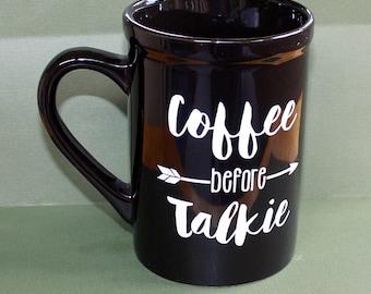 Café avant Talkie Mug - 16 onces - noir tasse en céramique