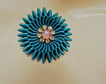 Teal Cocarde Satin Ribbon Opal Button Brooch