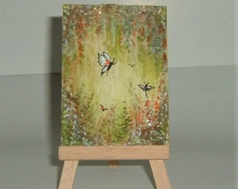 aceo butterfly fantasy art painting. (ref E199)