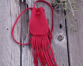Red medicine bag , Leather necklace bag , Ready to ship , Red leather medicine bag with fringe