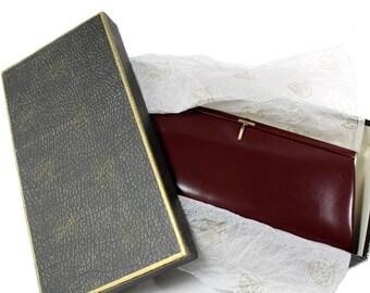 LOEWE Vintage Burgundy Leather Clutch