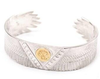 Silver Eagle Bangle | Men Eagle Bracelet | 18K Gold Eagle | Eagle Feather Bracelet |Eagle Jewelry |Bird Bracelet |Mens Bracelet Personalized