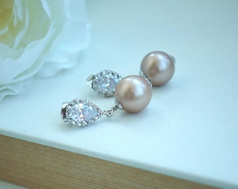 Blush Champagne Almond Pearls Silver Plated Rhodium Plated Cubic Zirconia Ear Post Earrings. Silver Plated Swarovski Champagne Pearls Post
